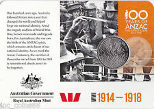 2015 Official Coin Collection Anzacs Remembered 20cent Coin No 1 WWI 1914--1918