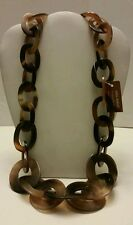 Gorgeous designer natural Buffalo Horn long link necklace