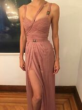 New VERSACE RUNWAY Bustier Open Back Pink Dress Gown Size 40 4 SO SEXY VERY RARE