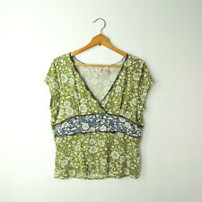 Anthropologie Cross Stitch Heart XL v-neck green blue floral knit blouse top tee