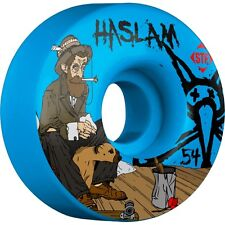 "New Set of Four BONES STF Haslam ""Bohemian"" V3 Skateboard Wheels (Blue): 54mm"