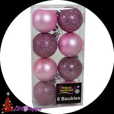 Christmas Decorations -  8 Pack Blush Pink Glitter & Plain Baubles - 50mm