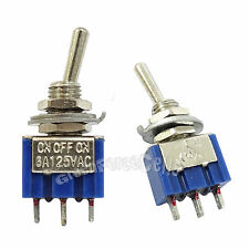 100 pcs 3 Pin SPDT ON-OFF-ON 3 Position 6A 250VAC Mini Toggle Switches MTS-103