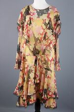 VTG 1920s Floral Chiffon Drop Waist Dress #1081