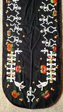 "64"" Hand made Flannel Embroider Applique SKELETON Pumpkin HALLOWEEN Table Runner"