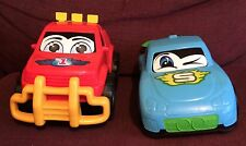 "Set Of 2 Dickie Toys Happy Runner Sports Car Pickup Truck 11"" Plastic Vehicles"
