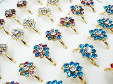 10pcs Wholesale Jewelry Lots Mixed Rhinestone Gold Plated Rings Free J38