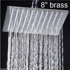 "Ultrathin Bathroom 8"" Square Chrome Stainless Steel Rainfall Shower Head"
