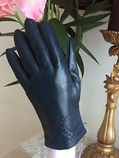 VINTAGE 60s GLOVES NAVY FAUX LEATHER RETRO LADY DRIVER MOD 7.5