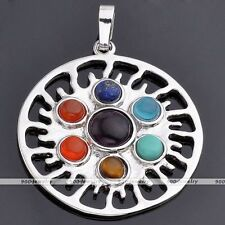 7 Chakra Point Healing Blazing Sun Flower Gemstone Charms Pendant For Necklace