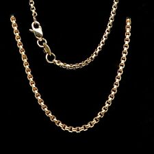"""20"""" Round Box Link Chain 14k Solid Yellow Gold Necklace Designer Style"""