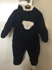 Ladybird Size 3/6 Months Navy Blue Hooded Snowsuit With Fur Hood