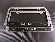 2 Brand New JAGUAR HALO chromed METAL license plate frame +screw caps
