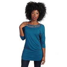 NEW Glitterscape Stretch Knit 3/4 Sleeve Beaded Caged Back Ruched Side Tunic 1X