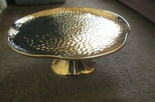 "Gold Ceramic Cake Plate Desert Stand 10"" Medium Holiday Bling Grace Teaware NWT"