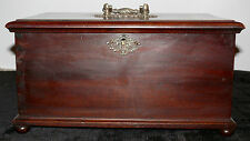 ANTIQUE SEWING BOX WOODEN WITH TWO SIDE DRAWERS LATE 1800'S