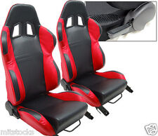 NEW 2 BLACK & RED LEATHER RACING SEATS RECLINABLE W/ SLIDER ALL CHEVROLET ****