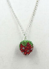 Cute Strawberry Crystal Rhinestone Silvering Disco Ball Necklace New Chain AAA