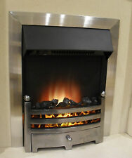 ELECTRIC BRUSHED SILVER SURROUND REMOTE CONTROL 2KW FLAME INSERT INSET FIRE