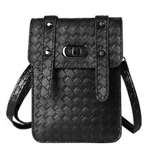 Black Braid Carrying Pouch Cross-body Cell Phone Bag For Apple iPhone 6s Plus