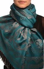 Large Paisley and Roses On Cerulean Blue Pashmina With Tassels (SF002537)