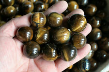 10 NATURAL TIGER EYE QUARTZ CRYSTAL SPHERES BALLS HEALING 23-30mm