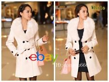 Hot! Women's Wool Faux Fur Trench Parka Double-Breasted Winter Coat Jacket R29
