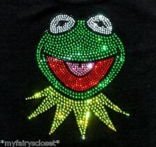 """6.5"""" Muppets Kermit the Frog SpArKLy iron-on rhinestone transfer bling patch"""