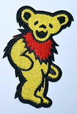 30 pcs/lot Yellow Grateful Dead DANCING BEAR Biker Punk Embroidery Iron on Patch