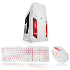 CIT Storm White Atx Case 1 x 12cm Red LED Front Fan + Keyboard & Mouse Set