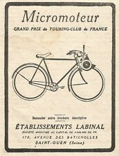 W7924 Bicicletta a motore MICROMOTEUR - Pubblicità del 1925 - Old advertising