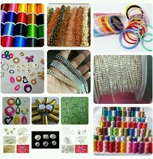 Silk thread jewellery making  tools kit , silk thread in 6 colours