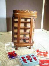 Dollhouse China Cabinet w/Ruby Red Dishes glasses cups Chrysnbon Large Lot New