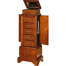 Jewelry Armoire Mirror Wood Cabinet Box Storage Chest Walnut Women Organizer New