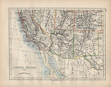 Estados Unidos 1902 mapa ~ South West California Arizona Nuevo México Utah Colorado