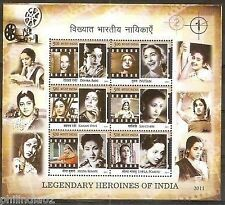 India 2011 Legendary Heroines of Indian Cinema Phila-2695 M/s MNH