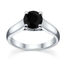 0.33 Carat Round Black Diamond Four Claw Solitaire Ring Crafted in White Gold .