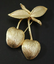 Vintage SARAH COVENTRY Signed Two Cherries Textured Gold Tone Pin Brooch