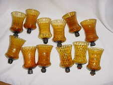 Group Of 12 AMBER HONEYCOMB VOTIVE CUP CANDLE HOLDERS Homco Home Interior