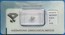 Natural Diamond Round Brilliant 0,39 CT color D clarity VVS2 cut Very good