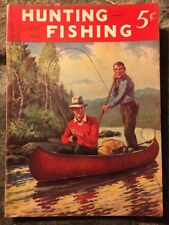 HUNTING AND FISHING April 1939 Magazine Illus Cover Fly Fishing in Canoe