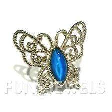 New Statement Butterfly Multi Color Change Mood Ring Oval Stone Free Box Vintage
