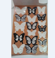 18pcs Black/White Crystal Butterfly Decor 3D Wall Stickers Home DIY PVC Decals