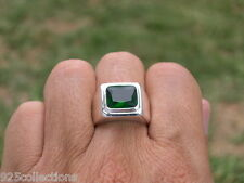 11x9 mm 925 Sterling Silver May Green Emerald Stone Solitaire Men Ring Size 11