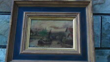 ANTIQUE18c- 19c OLD MASTER ORIGINAL OIL PAINTING OF VILLAGE SCENE W/SHIP,BRIDGE