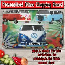 PERSONALISED VW VOLKS WAGON CAMPER VAN GLASS CHOPPING BOARD HOUSE WARMING GIFT