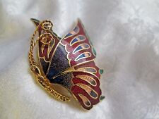 VTG Cloisonne Enamel Profile Butterfly Brooch Pin Gold Tone Red Green Blue EUC