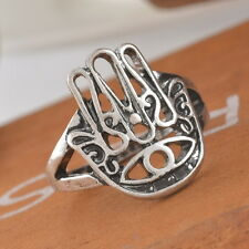 1PC Hamsa Fatima Finger Ring Evil Eye Hand Lucky Retro Exaggeration Ring