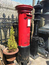 Original Pillar box , british post box , Royal mail pillar post box red