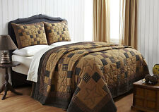 Braden Country Quilt Set by Olivias Heartland Black & Tan with Stars King Size